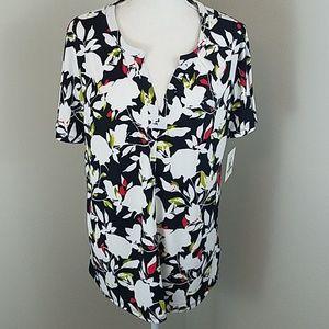 **NWT! Ellen Tracy Lg Floral Short Sleeve Blouse